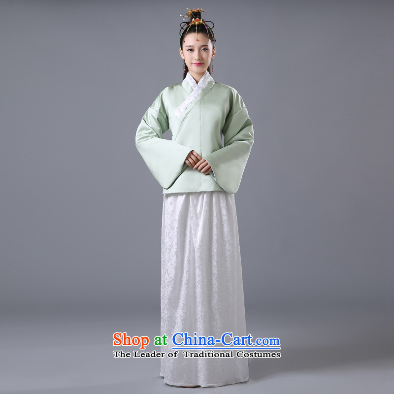 The Autumn and Winter Han-costume female plain Han-second track civil teahouse restaurants videos stage costumes princess national costume will light green and white dress code for both floor 160-175cm