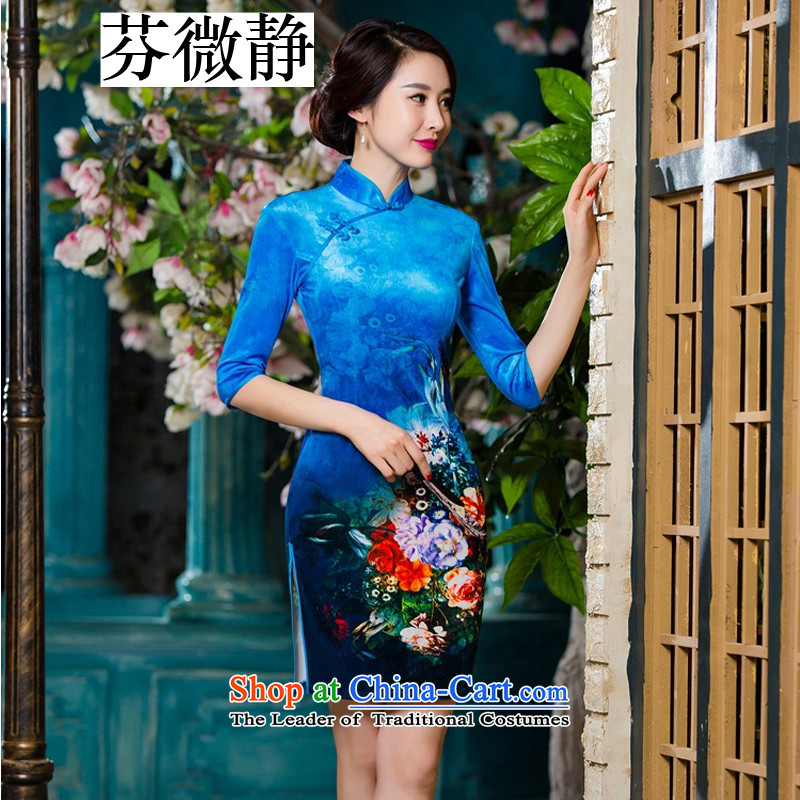 Leung Ching in autumn and winter micro-sleeved cheongsam dress scouring pads installed qipao Stylish retro improved wedding dresses mother�3XL blue