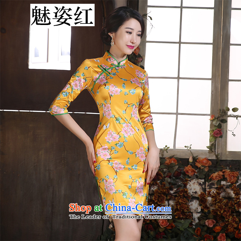 Gigi Lai Hung daily improvement of Sau San collar in cuff silk short of Sau San opened fork qipao dresses company banquet Gala Evening Dress Wong Tai Hua燲XL