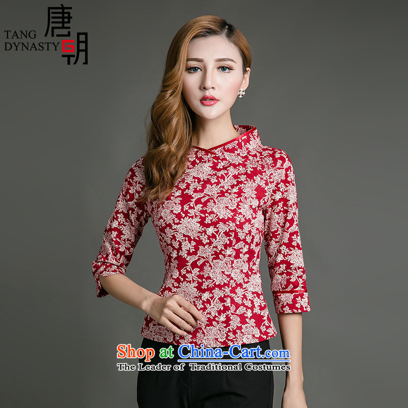 The Tang dynasty?2015 fall of Chinese Tang dynasty improved qipao saika shirt T-shirt female Sau San TQA42280 white on a red ground leaf flower?XL