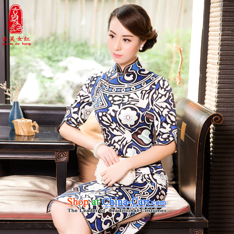 The Wu Female Red Spring and Autumn 2015 new boxed Silk Cheongsam in Sau San long-sleeved elegant qipao 7 stamp blue?L