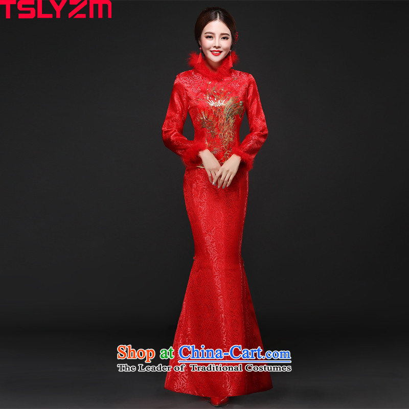 Toasting champagne bride services qipao tslyzm skirt long-sleeved long 2015 autumn and winter new red stamp collar for gross crowsfoot red?S