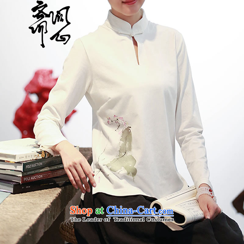 Ask the heart of Ramadan (MING HEART HEALTH women fall of Chinese Mock-Neck Shirt wild hand-painted white 2,679�S