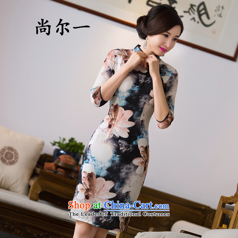 Naoji a retro style improved graphics thin beauty in the long load routine qipao qipao autumn skirt SM9160 map color燲XL