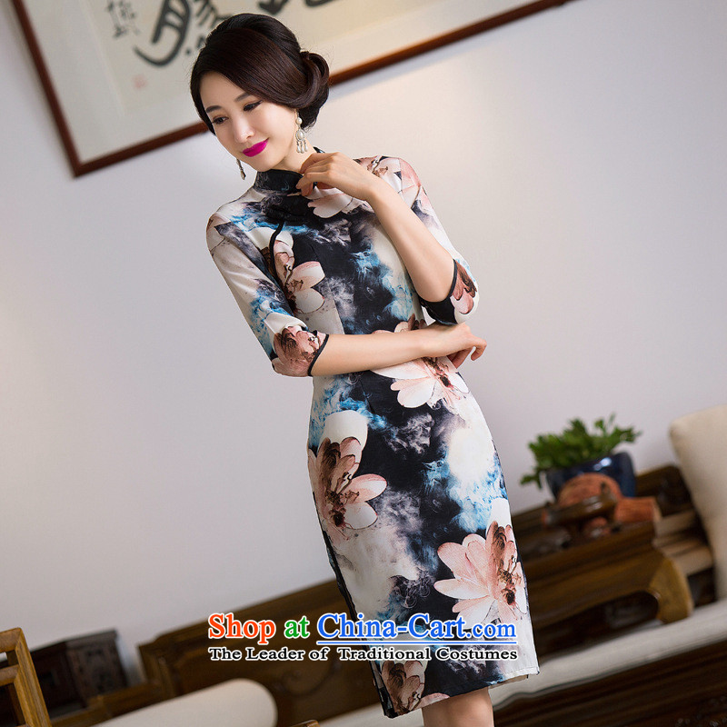 Naoji a retro style improved graphics thin beauty in the long load routine qipao qipao autumn skirt SM9160 map color聽XXL, naoji a , , , shopping on the Internet