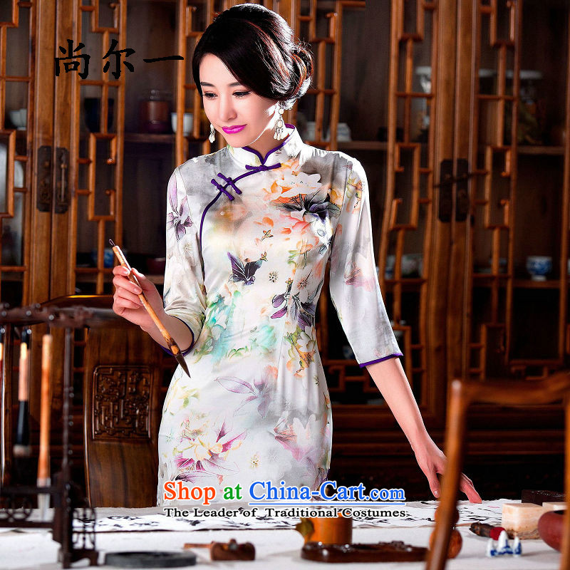 Naoji with elegant qipao stamp Graphics Improvement thin retro temperament Sau San cheongsam dress SM9161 map color?M