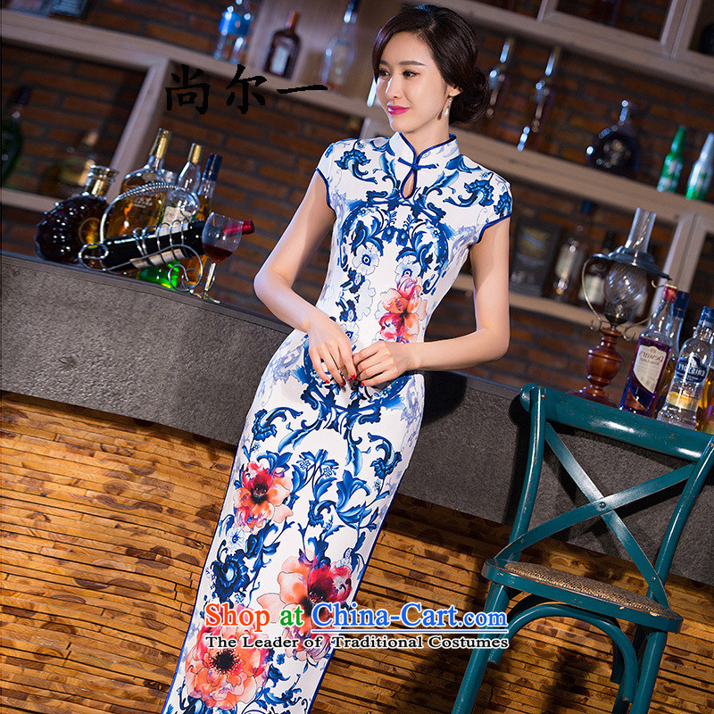 Naoji a retro improved long stylish cheongsam dress daily qipao Sau San dresses SM9163 map color燬