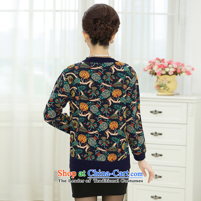 * New fall apples-hong) Older really two kits Knitted Shirt girl aged 40-50 Cardigan larger mother replacing sweater jacket lake blue聽3XL,A.J.BB,,, shopping on the Internet