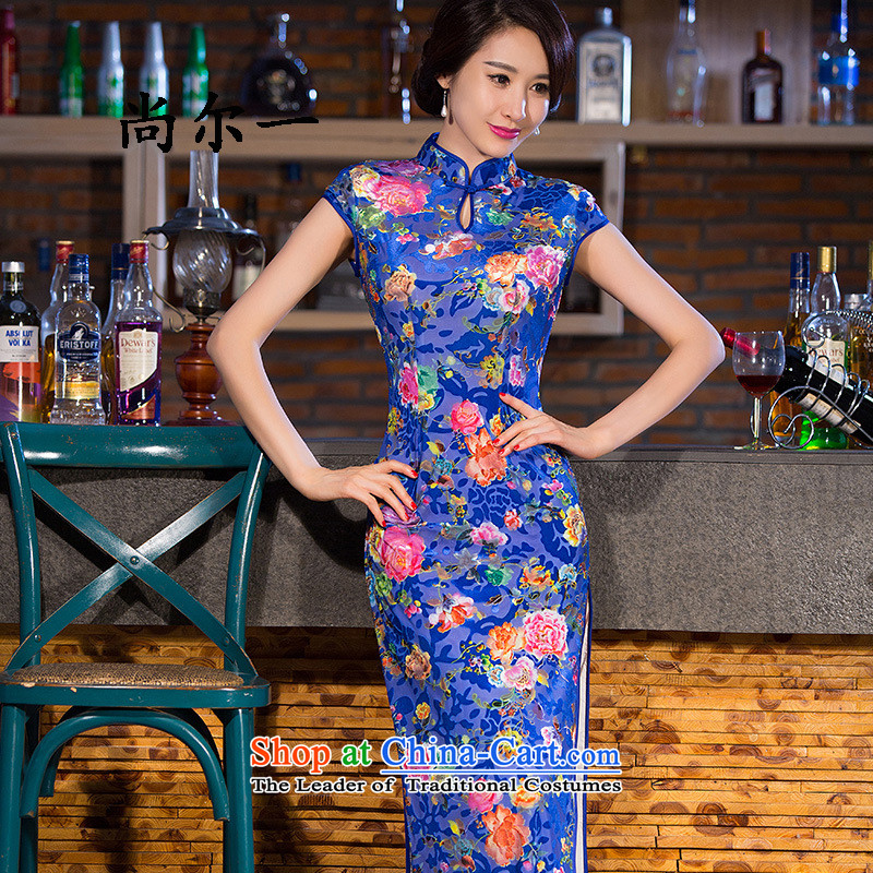Yet, a new paragraph short-sleeved long wool stylish improved Sau San dresses qipao SM9164 map color�M