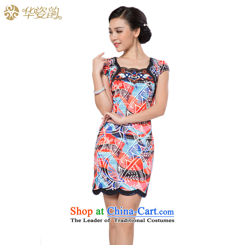2015 Autumn_, Ms. Clara Gigi Lai Sau San elegant improved graphics thin Tang Dynasty Chinese cheongsam dress short of qipao gown temperament red?S