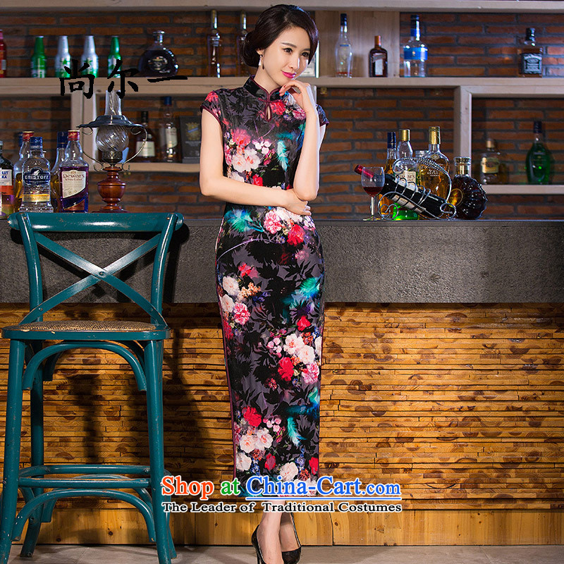 Yet, a new paragraph summer improved long cheongsam dress qipao large scouring pads installed MOM dresses SM9165 map color燣