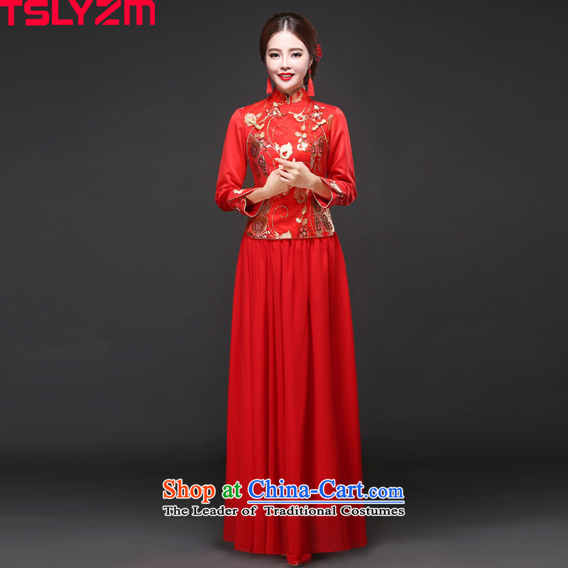 In cuff cheongsam dress tslyzm bows serving long 2015 new stylish autumn and winter bride red collar long-sleeved-soo marriage kimono red?S