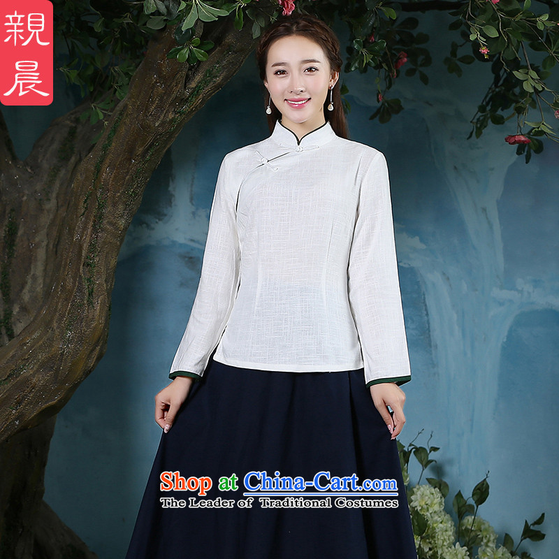 The pro-am cotton linen clothes 2015 new qipao Ms. Fall_Winter Collections daily Tang dynasty improved stylish long-sleeved shirt dresses�L