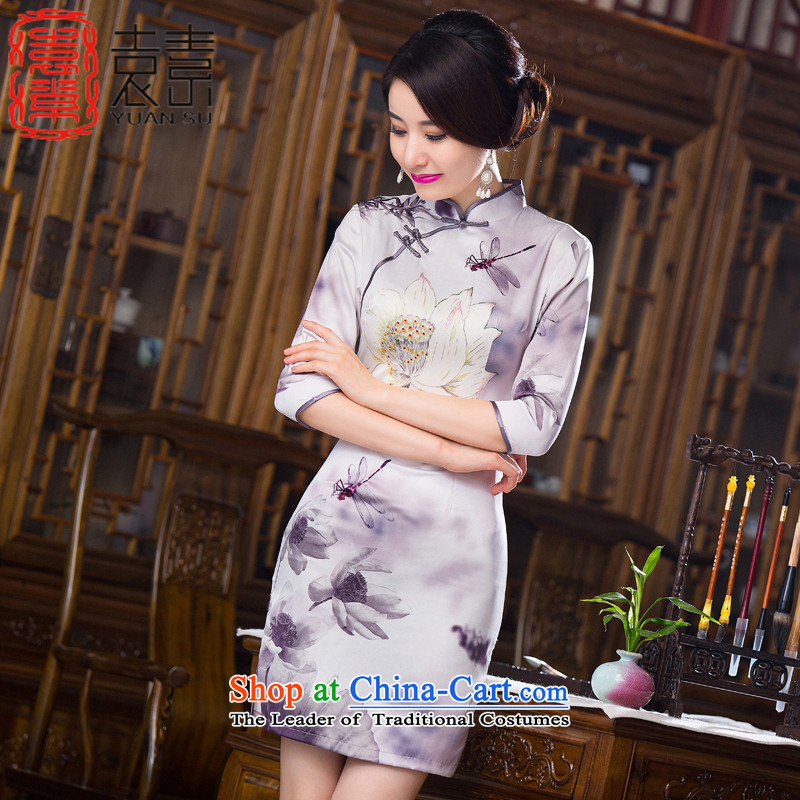 Yuan of candidates with Lin?2015. Long improved qipao fall inside double silk cheongsam dress retro cheongsam dress?QD280 New?Light Gray?XXL