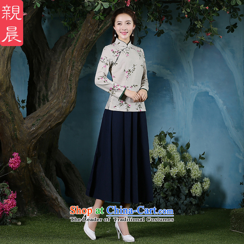 The pro-am qipao shirt new improved stylish 2015 Fall_Winter Collections, day-to-day long-sleeved cotton linen antique dresses shirt + Hong Kong navy blue long skirt聽2XL