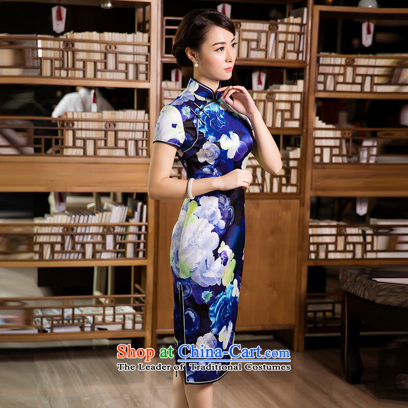 The Wu?Chun-mount female red 2015 silk cheongsam dress in long sleeves, women's daily cheongsam dress blue?S