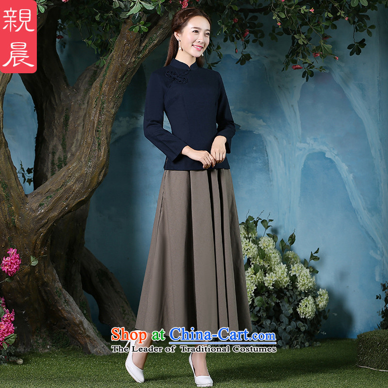 At 2015 new pro-summer daily improved stylish short-sleeved cotton linen dresses Chinese qipao shirt shirts female retro +MQ31 card its long skirt?S