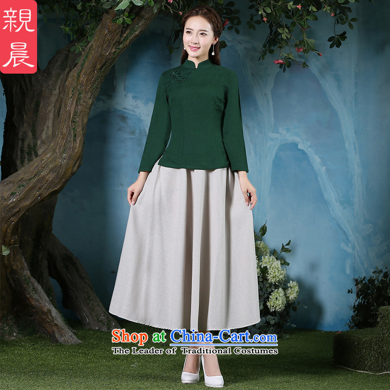 The pro-am retro qipao shirt 2015 new daily cotton linen improved Fall/Winter Collections female dresses long-sleeved shirt + beige long skirt?L