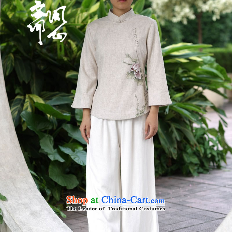 Ask the heart of Ramadan _MING HEART HEALTH women fall of Chinese Mock-Neck Shirt wool sweater hand-painted white?M 26.8 m