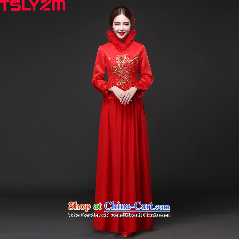 The bride cheongsam dress toasting champagne tslyzm retro-collar long 2015 Fall_Winter Collections New Sau San video thin wedding wedding dress red L