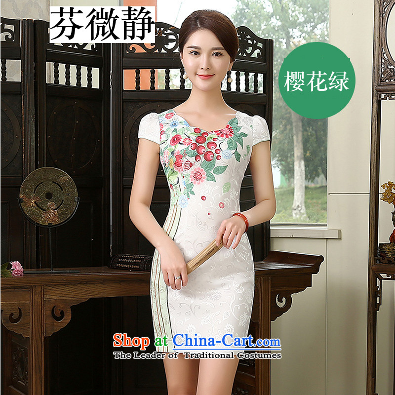 Stephen micro-ching improved daily dress annual stylish cheongsam dress retro improved Sau San elegant qipao cherry blossoms, Ms. Short Green聽M