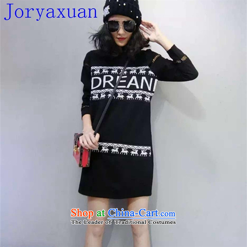 Deloitte Touche Tohmatsu sunny autumn 2015 replacing Europe shops and leisure Sau San knitting stitching pattern letters long TEE female black�M