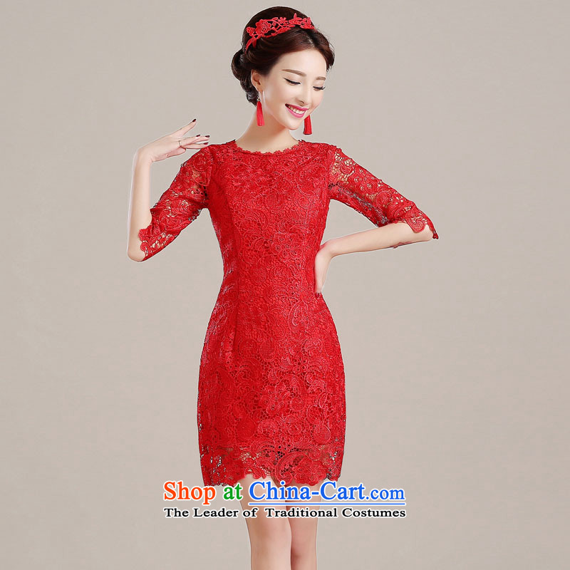 The Syrian wedding bows service hour brides fall 2015 new red qipao in cuff Wedding Dress Short of female Sau San Red?S