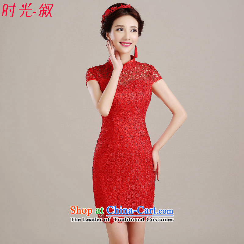 The Syrian brides bows service hour red lace qipao 2015 new autumn and winter improved stylish marriages bows serving Chinese style wedding dresses red�S