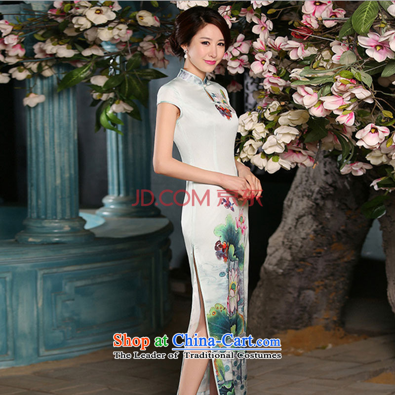 High on the forklift truck and sexy cheongsam dress daily ethnic women graphics performance qipao�FZZ301 thin�picture color�XL
