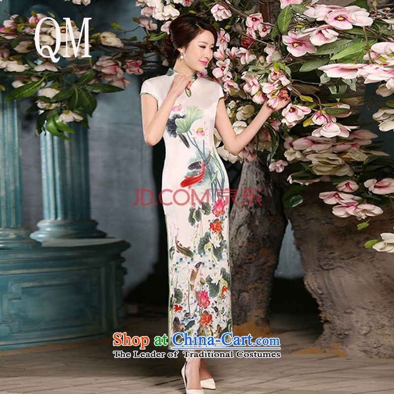 The National Women's wind energy silk Sau San retro long qipao聽FZZ304 improved聽picture color聽XXL