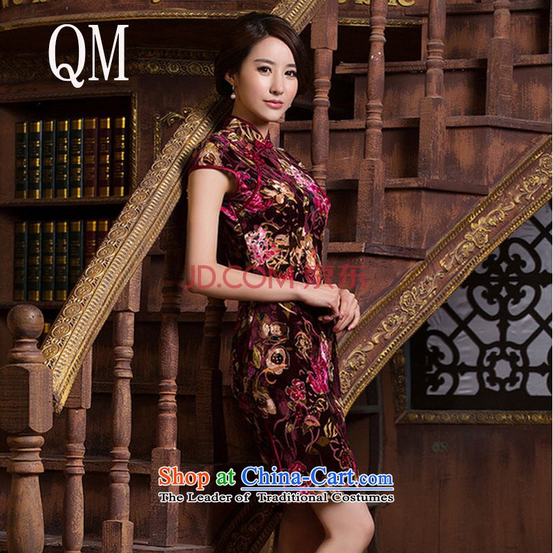 The cheongsam dress Kim scouring pads qipao stylish improved day-to-Sau San short skirt燜ZZ086 QIPAO_爌icture color燬