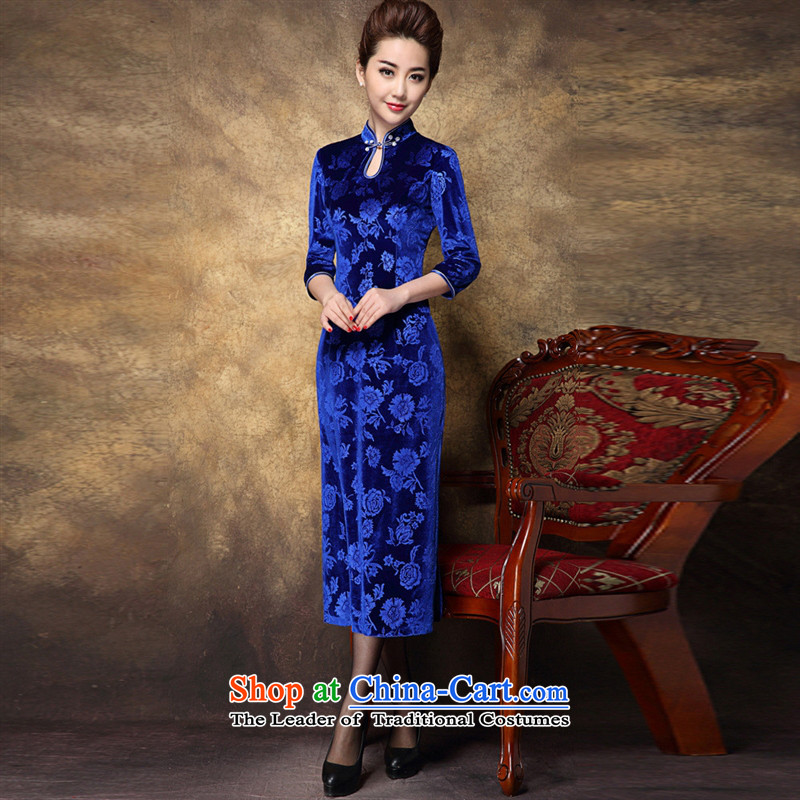 Web soft clothes 2015 know elegant imports of nostalgia for the gold velour long high on the forklift truck cheongsam dress_Sapphire Blue?XL