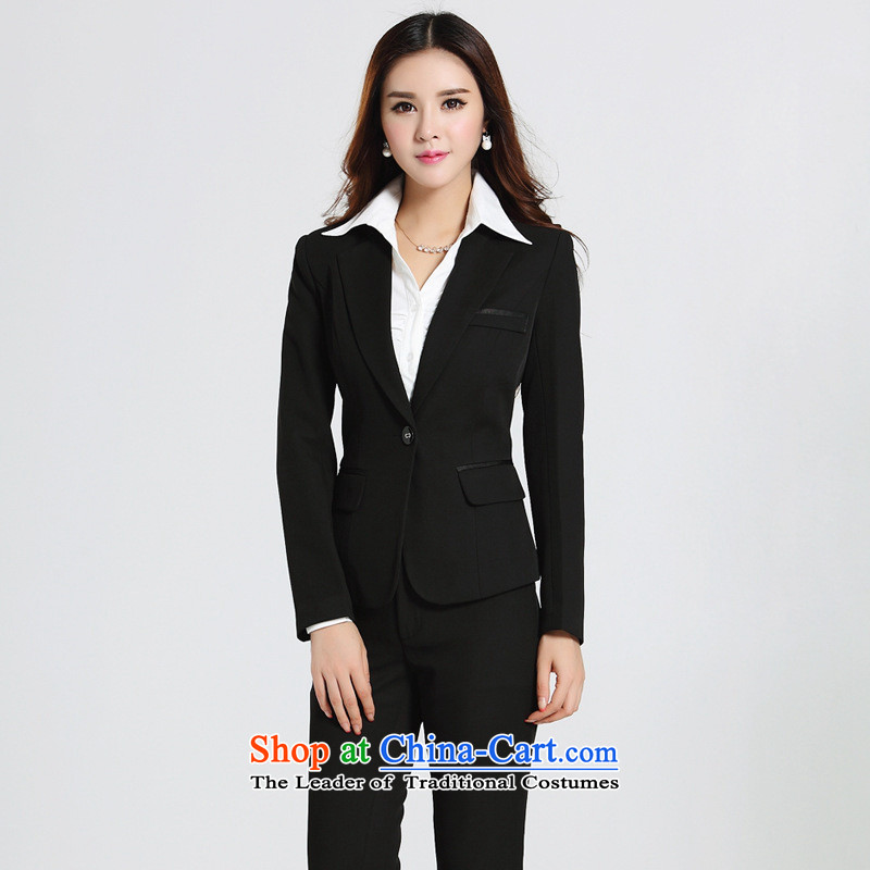 Web soft clothes for autumn and winter by long-sleeved vocational trousers Korean version of Sau San attire thin small business suit is Black?XL