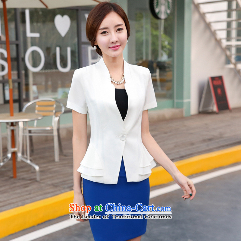 Web soft clothes 2015 Spring/Summer new professional wear skirts Korean female kit commuter short-sleeved western dress suits OL Workwear White Kit skirt�M