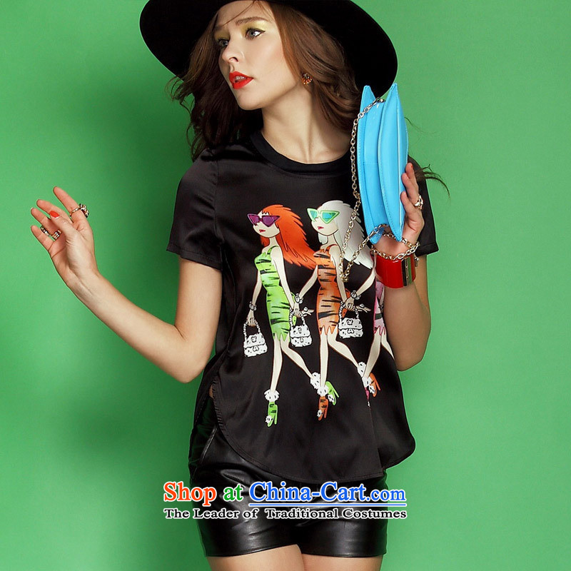 Soft Clothes Summer Web 2015 women for fun minus age cartoon stamp silk short-sleeved T-shirt picture color�S