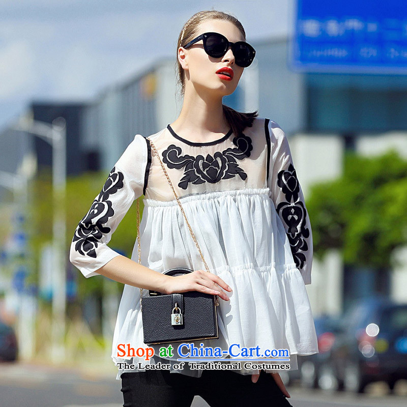 Web soft elegant ladies dress 2015 Sleek and versatile gauze collage cloth like Susy Nagle embroidered loose 7 color photo-sleeved shirt?S