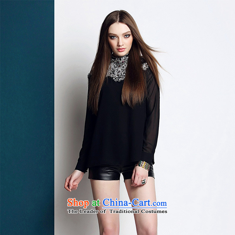 Web soft clothes in spring and summer 2015 Women's heavy industry staples black pearl sexy long sleeved shirt shirt T-shirt black?L
