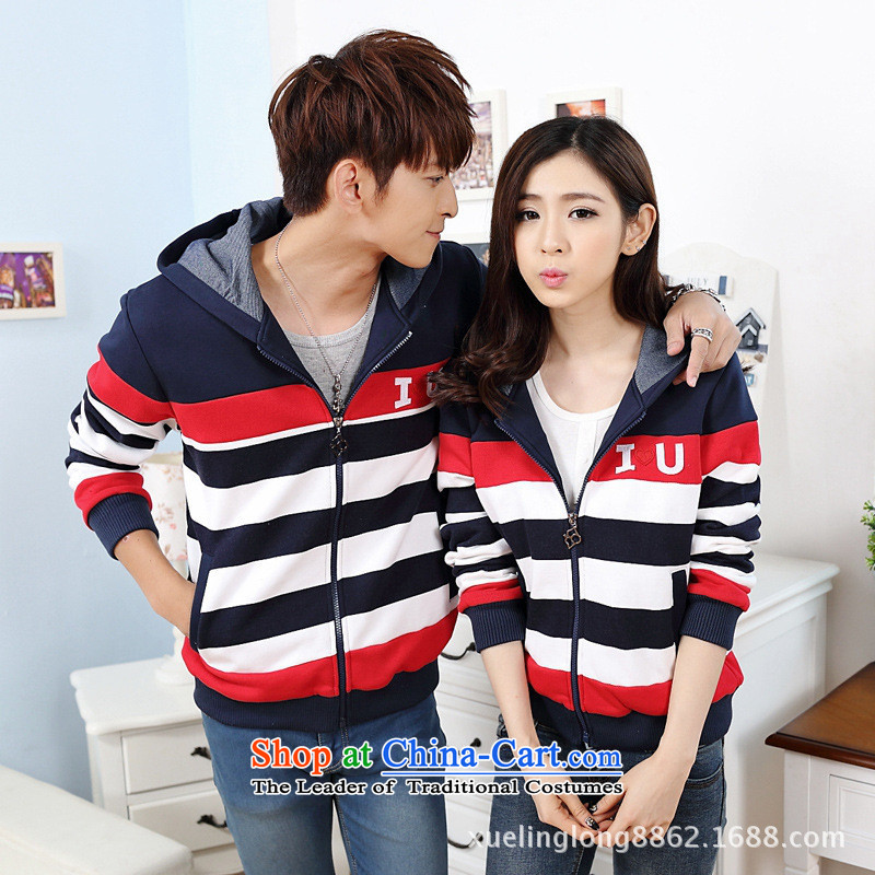 Web soft clothes couples with the autumn and winter streaks with cap load lint-free thick couples spent sweater gray men L