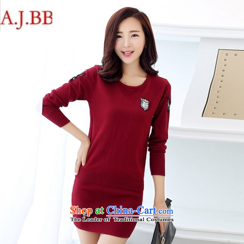 Orange Tysan _2015 fall inside the new Korean version of Sau San video thin round-neck collar long-sleeved bow tie knitting clothes short skirt two kits?FBH709 wine red?XL