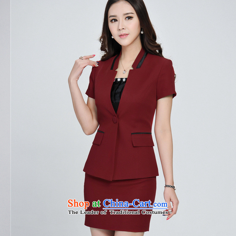 Soft clothes in spring and autumn 2015 web new career kit skirt short-sleeved video thin OL is fitted to suit the white-collar work clothes female RED?M