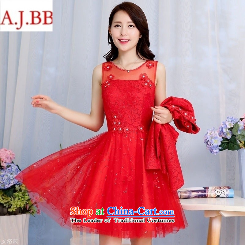Orange Tysan *2015 autumn new stylish Sau San red booking flowering two kits dresses dress�HSZM1582 RED�XL