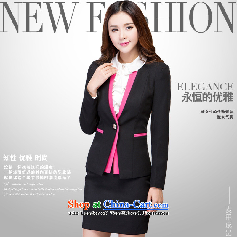 Web soft clothes spring 2015 new temperament vocational kits skirt won for the graphics professional kit skirt thin long-sleeved clothing vocational black?M