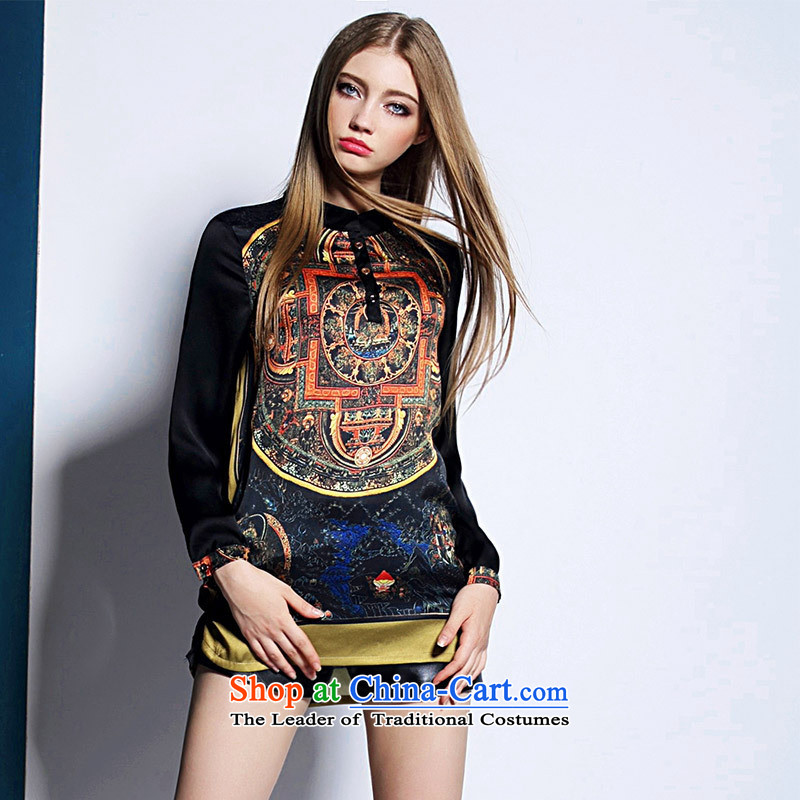 Web soft clothes in Europe 2015 Summer Code women loose T �� retro stitching stamp long-sleeved shirt picture color?M