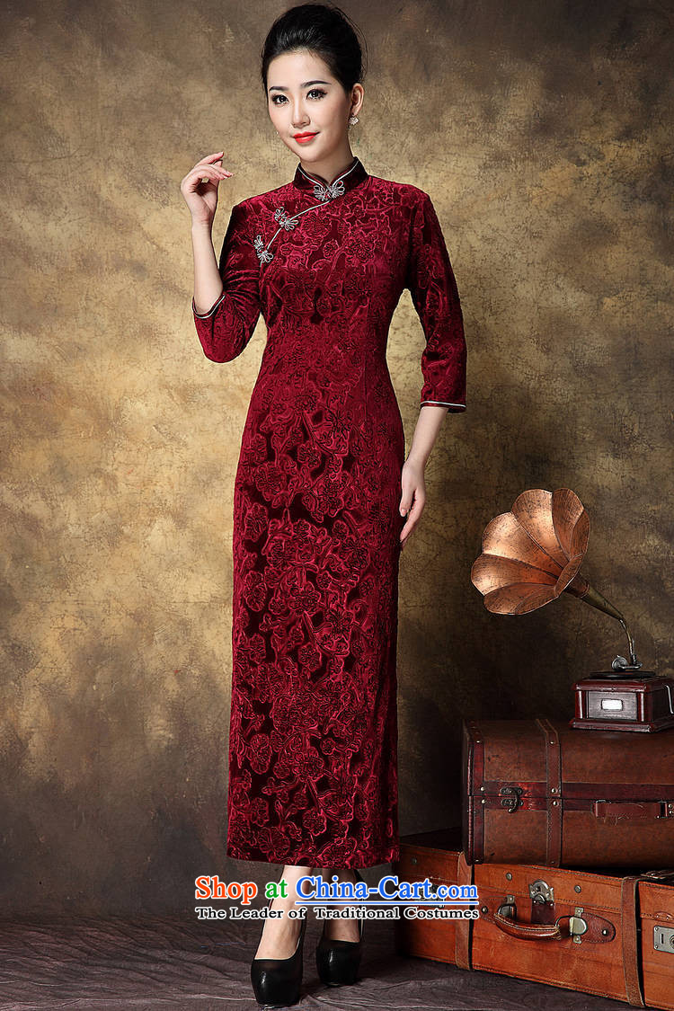 Women's Apparel soft web-Korea elegant qipao lint-free in-the-know retro China wind dress banquet long QIPAO) BOURDEAUX XL Photo, prices, brand platters! The elections are supplied in the national character of distribution, so action, buy now enjoy more preferential! As soon as possible.
