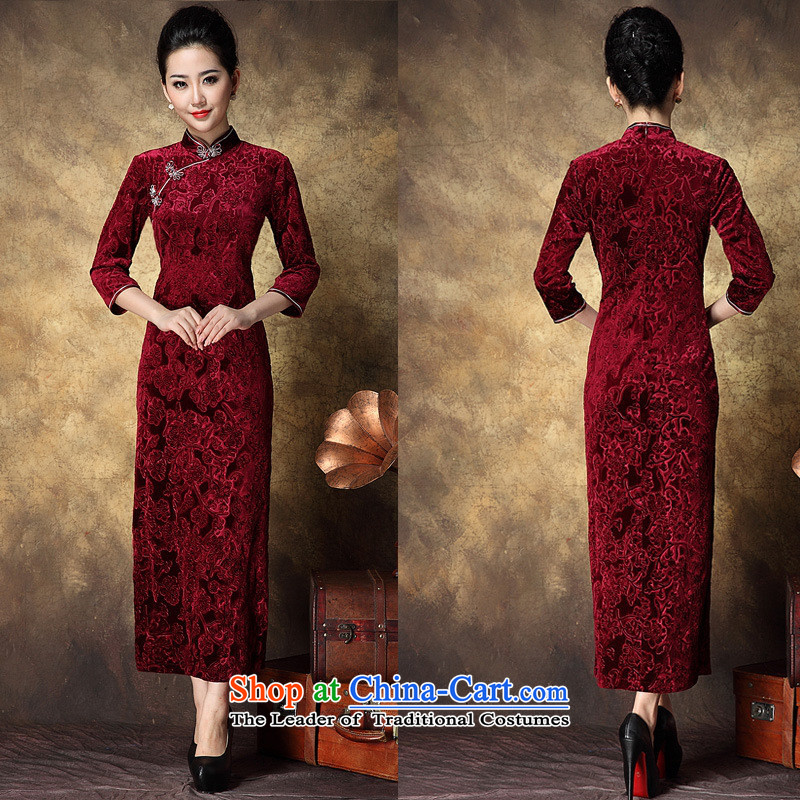 Women's Apparel soft web-Korea elegant qipao lint-free in-the-know retro China wind dress banquet long_ qipao BOURDEAUX?XL