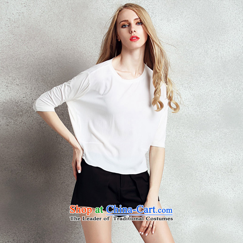 Soft Clothes Summer web short-sleeved T-shirt female 2015 Summer new Korean loose bat sleeved shirt Kit and 7-sleeved black?L