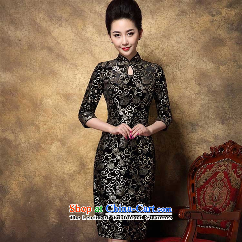 Soft clothes and contemptuous of elegant web graphics thin/Elegant in-the-know women/gold Korean lint-free /fourth quarter wild qipao map color XL
