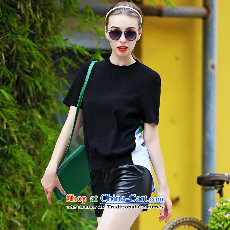 Web soft clothes Western Couture fashion early autumn 2015 new products large relaxd elegance back the spell checker shirt, red color streaks?M
