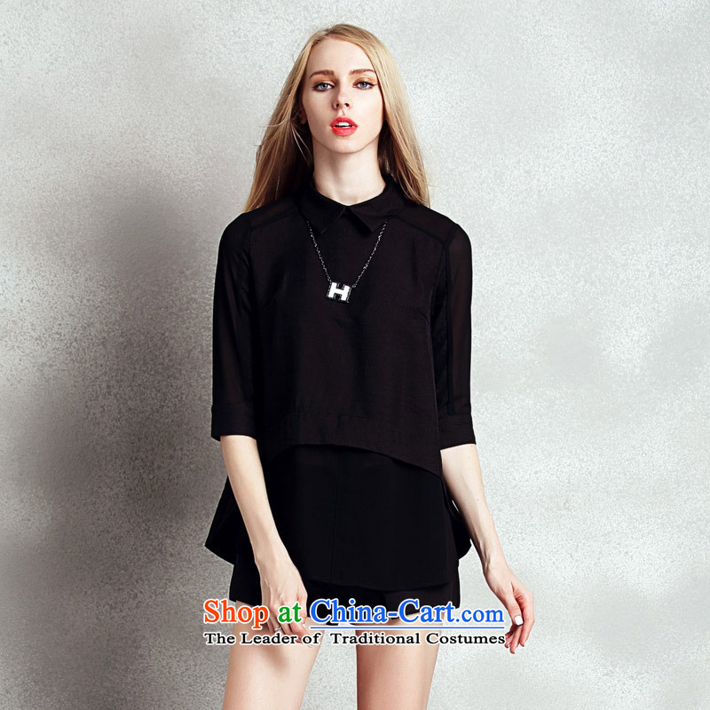 Web version summer clothing soft female new products chiffon black shirt collar irregular shirts dolls addition necklace black?M