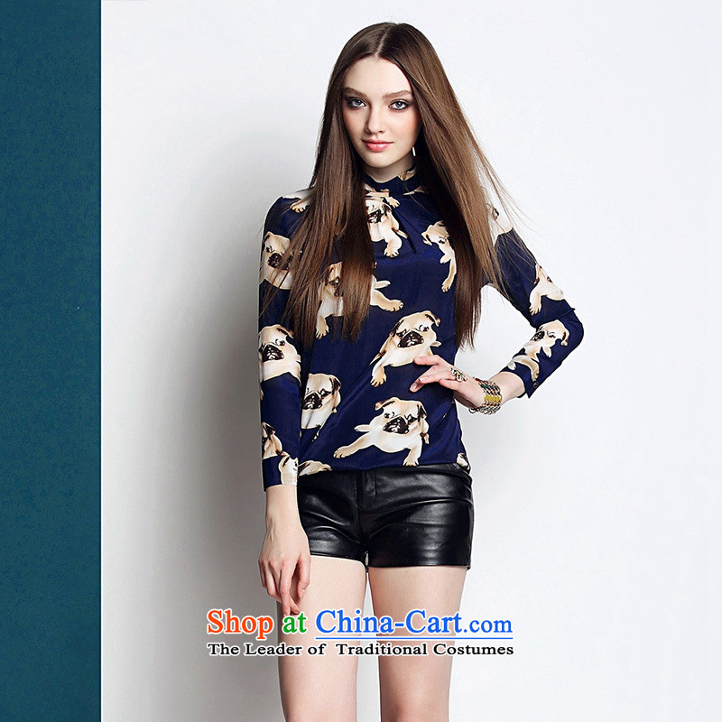 Soft luxury clothing web women 2015 Ms. spring coat Shar Pei silk sweater stamp 3D Blue?L